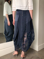 High Navy Skirt with Sheer Lace Detail. (Last One, Size 40)