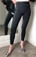 High Black Legging with Laser Cut-Out Detail