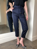Peserico Navy Pants with Waist Bow. (Last One, Size 46)