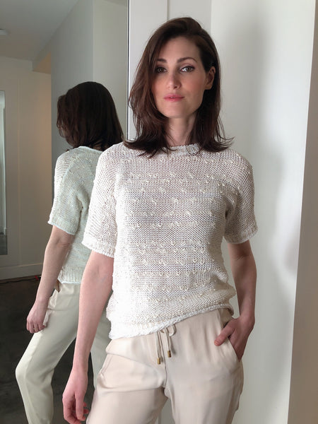 Peserico Cream and White Knit Top