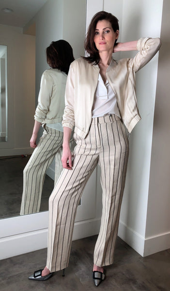 Peserico Cream Pin-Stripe Linen Pants