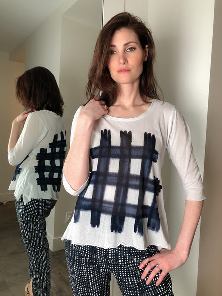Rundholz Navy Check Mesh Top