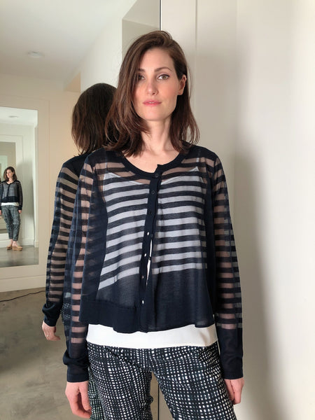 Rundholz Navy Sheer Striped Cardigan
