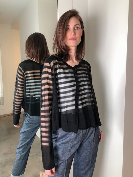 Rundholz Black Sheer Striped Cardigan. (Last One, Size XL)