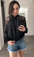 Red Valentino Black Lace Embroidered Bomber Jacket. (Last One, Size 40)
