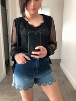 Red Valentino Ombre Denim Shorts with Eyelets