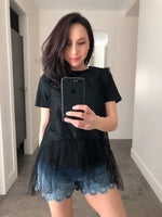 Red Valentino Black T-Shirt with Lace Overlay. (Last One, Size L)