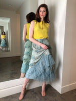 Red Valentino Blue Floral Pleated Skirt