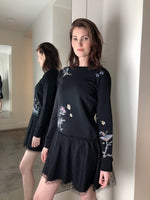 Red Valentino Black Sweater Dress with Floral Print and Lace Skirt. (Last One, Size S)