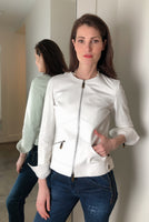 Lafayette 148 White Leather Moto Jacket