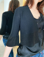D. Exterior Black Sparkly Cropped Cardigan. (Last One, Size L)