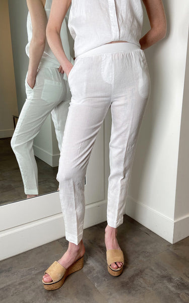 Rosso 35 White Linen Pants with Smooth Elastic Waist. (Last One, Size 50)