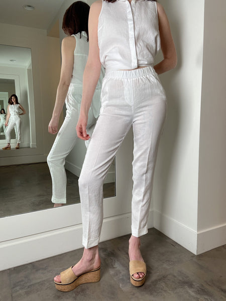 Rosso 35 White Linen Pants with Full Elastic Waist