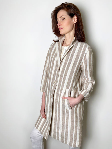 Rosso 35 Beige Striped Linen Jacket