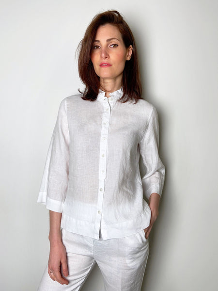 Rosso 35 White Linen Top with Mandarin Collar