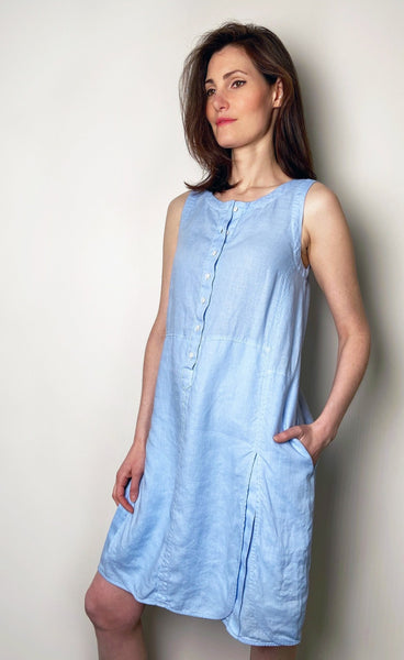 Rosso 35 Blue Linen Sleeveless Dress