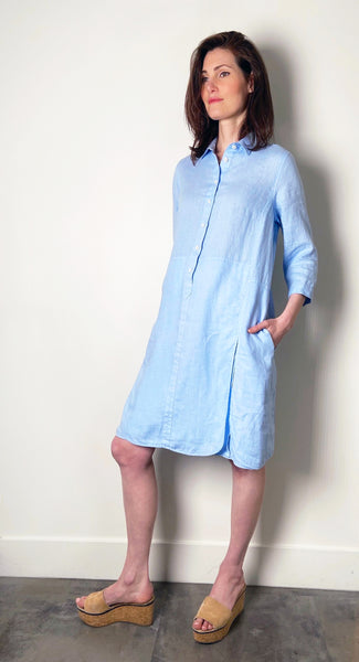 Rosso 35 Blue Linen Dress. (Last One, Size 40)