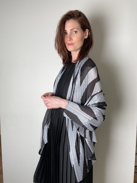 Pleats Please Black and Silver Poncho Scarf. (Last One)