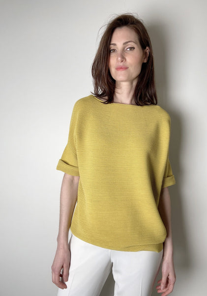 Lafayette 148 Yellow Ribbed Pullover. (Last One, Size L)