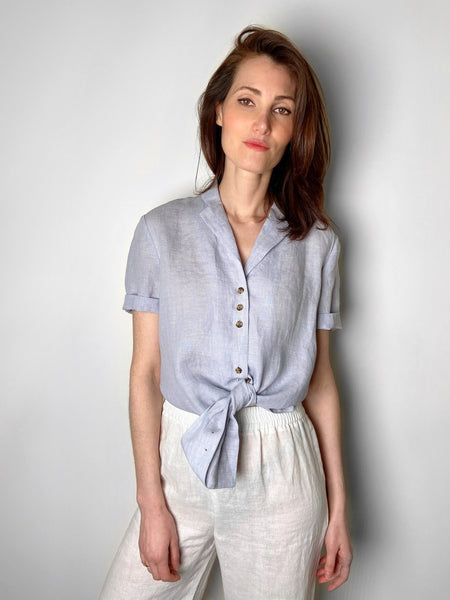 Lafayette 148 Grey/Blue Linen Shirt. (Last One, Size XS)