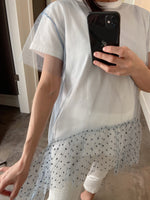 Red Valentino White T-Shirt with Blue Tulle Jewel Detail. (Last One, Size L)
