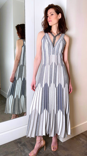 D. Exterior Long Ribbed Silver Dress.  (Last One, Size L)