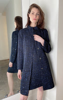Emporio Armani Navy Sequin Tweed Coat. (Last One, Size 50)