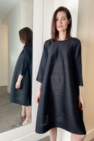 Pleats Please Black Long Sleeve Dress with Button Side. (Last One, Size 5)