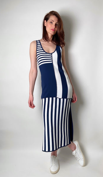 Cedric Charlier Long Blue and White Striped Dress