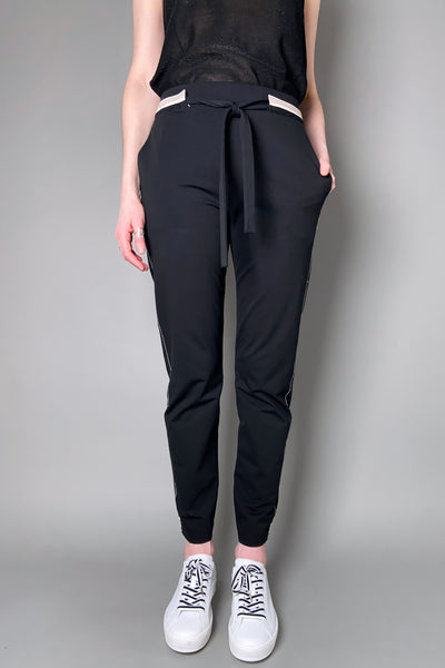 D. Exterior Black Jersey Jogger Pants with Sparkly Details