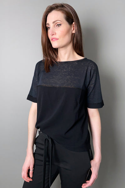 D. Exterior Black Knit Top with Lurex Stripe