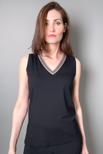 D. Exterior Black Sleeveless V-Neck Top with Lurex Trim