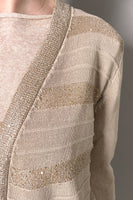 D. Exterior Sand Robe Cardigan with Sequin Stripes