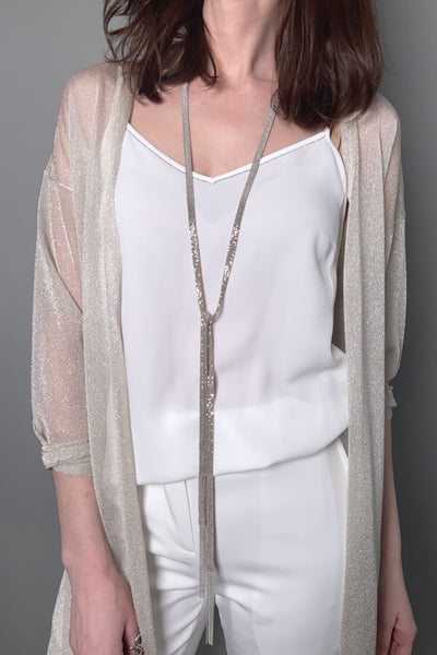 D. Exterior Nude Sparkly Knit Necklace/Belt
