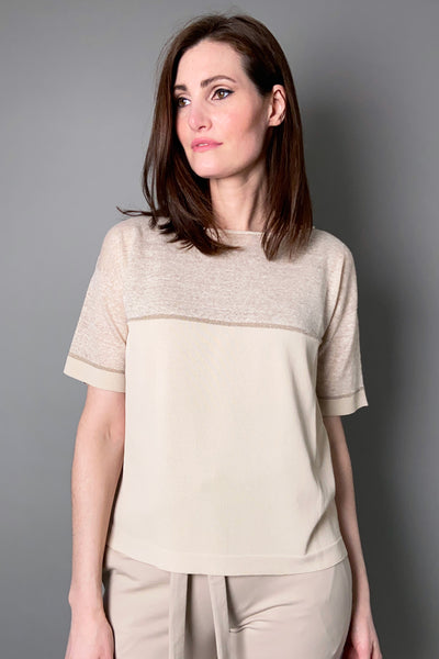 D. Exterior Sand Knit Top with Lurex Stripe
