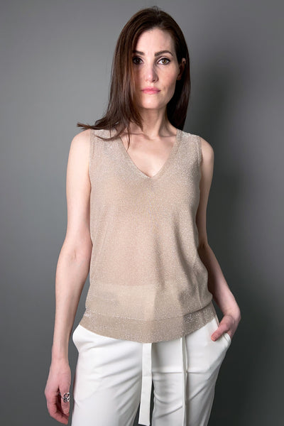 D. Exterior Shimmery Sand V-Neck Knit Top