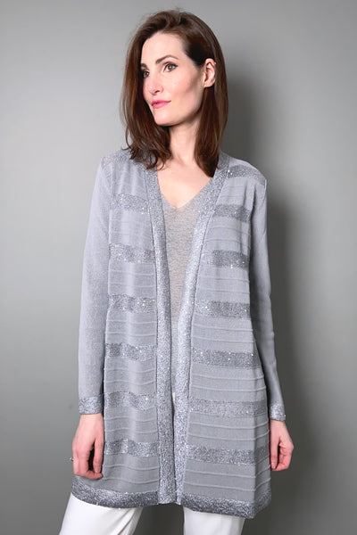D. Exterior Grey Robe Cardigan with Sequin Stripes