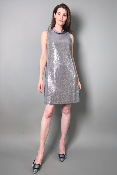 D. Exterior Sparkly Silver Shift Dress