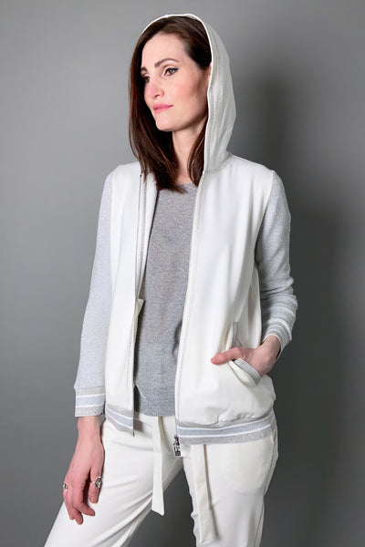 D. Exterior White Hoodie Baseball Jacket with Sparkly Details