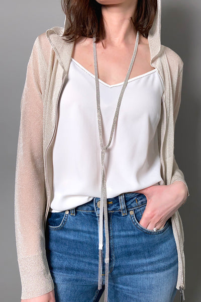 D. Exterior White Sparkly Knit Necklace/Belt