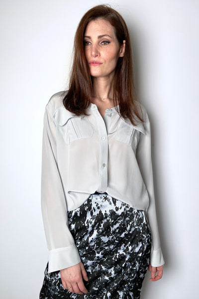 Dorothee Schumacher Powder Blue Fluid Volumes Blouse