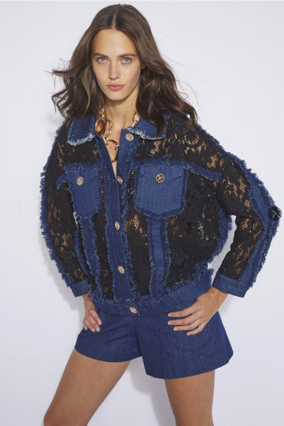 Edward Achour Black Lace and Denim Jacket
