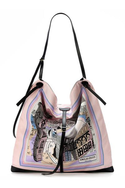 Emilio Pucci St. Battistero Print Hobo Bag in Grey and Pink