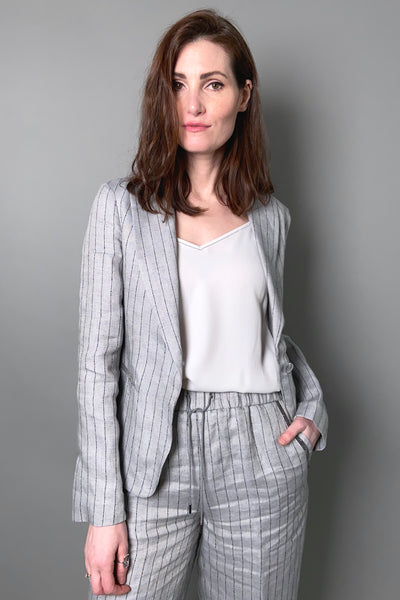 Fabiana Filippi Grey Striped Linen Blazer