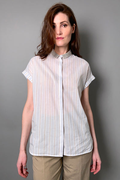 Fabiana Filippi Striped Shirt with Brilliant Collar