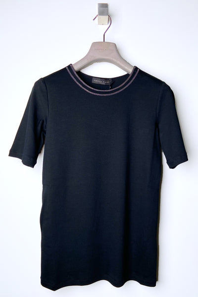 Fabiana Filippi Black Jersey T-Shirt with Brilliant Detail