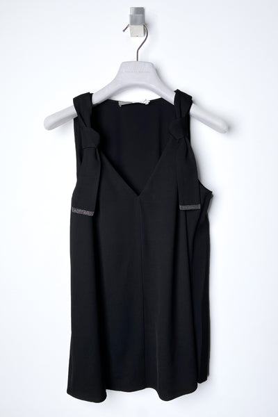 Fabiana Filippi Black Sleeveless Knotted Top