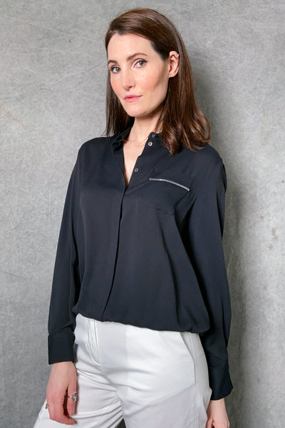 Fabiana Filippi Black Blouse with Brilliant Pocket
