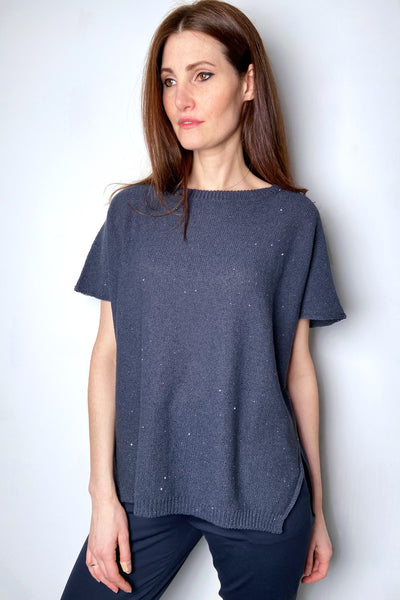 Fabiana Filippi Gunmetal Blue Knit Top with Sequins