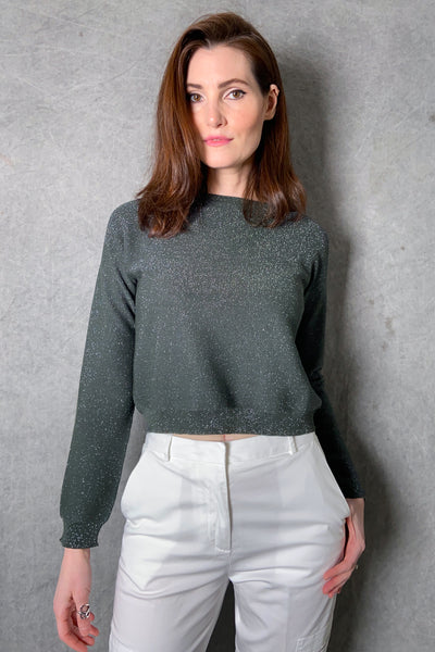 Fabiana Filippi Forest Green Crewneck Sweater with Sparkle